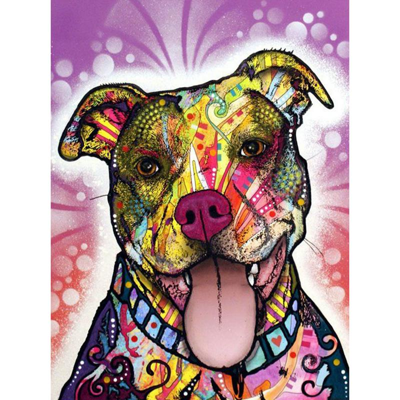 Naive Dog Animal Full Drill 5D Diamond Round Rhinestone Embroidery Painting DIY Cross Stitch Kit Mosaic Draw Home Decor Gift