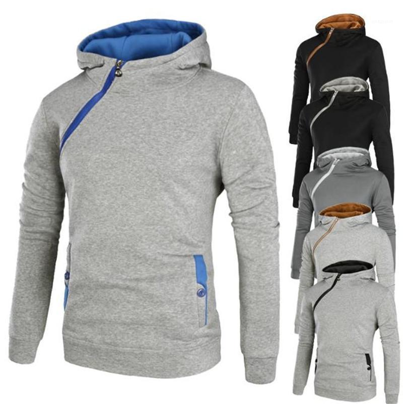 Mens Designer Hoodies beiläufige Kontrast-Farben-starke lange Hülsen-mit Kapuze Sweatshirts Reißverschluss-Front Herren Pullover 20AW