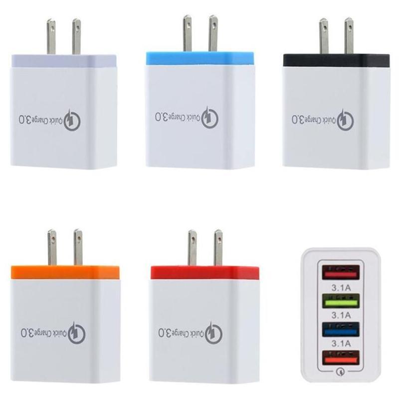 QC3.0 4 porte USB parete del caricatore 5V 3A UE spina degli Stati Uniti veloce Travel Adapter per Samsung S8 note10 LG Sony