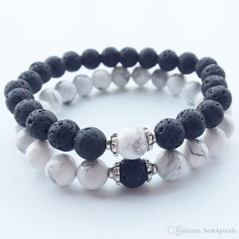 Natural Stone Bracelets 2018 Hot New Lava Volcanic Stone White Turquoise Bracelet Wholesale Handmade Beads Bracelets for Men Women Jewelry