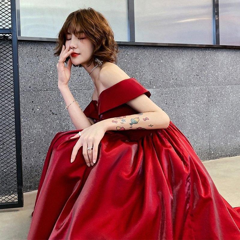 Robes de bal 2019 Vin rouge balayage à manches courtes perles longues Robe de bal Robe du soir Robe élégante bH2y #