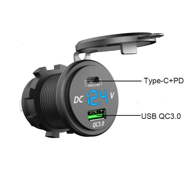 utomobiles Moto PD Type-C + QC 3.0 USB Car Charger Socket 12V / 24V di potere dell'automobile dello zoccolo della presa impermeabile per moto Marine R ...