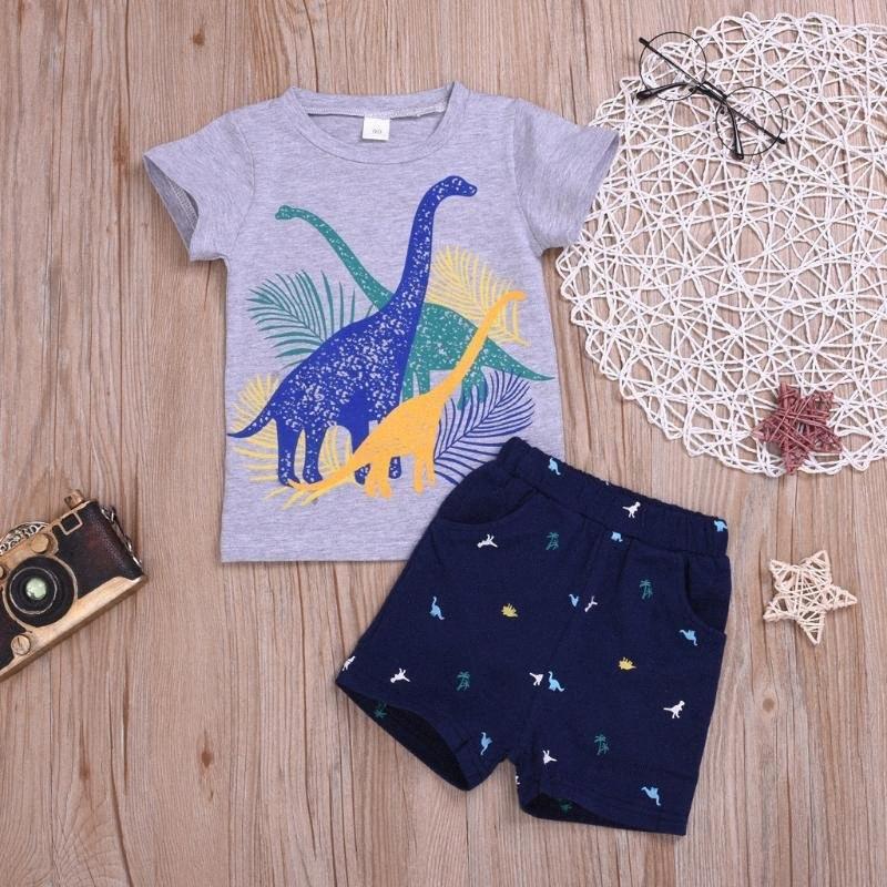 Los muchachos del niño ropa fijada del dinosaurio de impresión remata la camiseta + shorts de algodón causales ropa determinada trajes para los niños o4S0 #