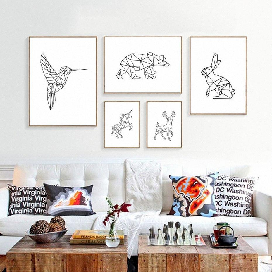 Pinturas de minimalistas nórdicos abstrct línea de los animales Fotos de lona impresa Kingfisher Deer Poster Wall Art For Living Room Decor X0jf #