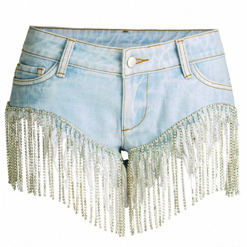 [Ewq] 2020 Tassel taille haute bleu Denim Shorts Femmes Sexy Summer moulantes Jeans Hot court Femme Casual Streetwear MI699 FZLX #