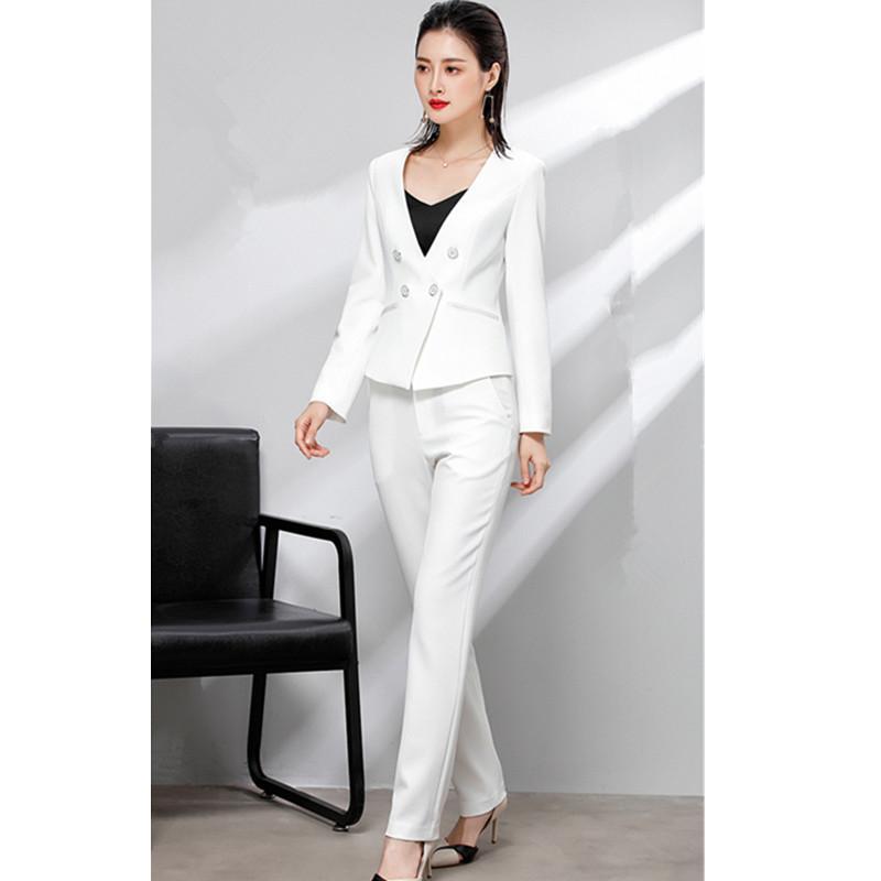 Женский костюм женский двубортный костюм из двух частей (куртка + брюки) бизнес работа профессиональная одежда на заказ