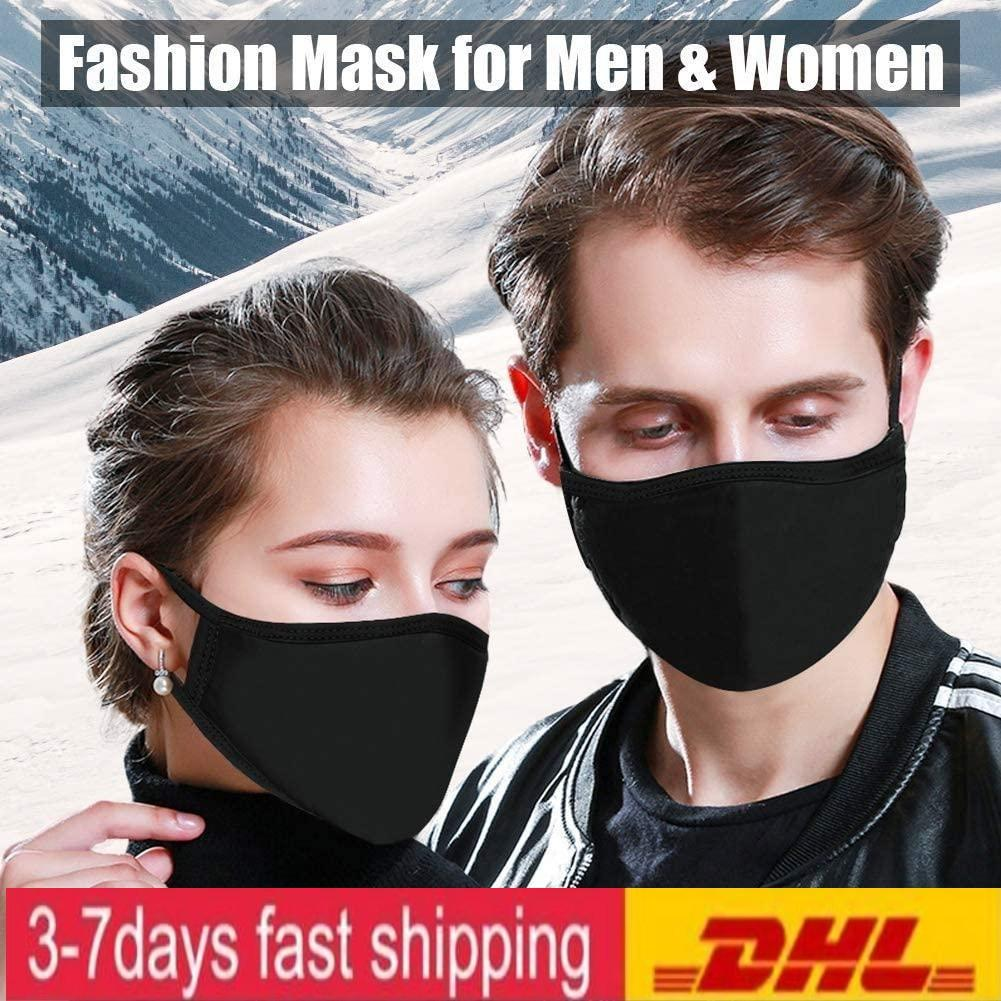 US Stock Adjustable Anti Dust Face Mask Black Cotton for Cycling Camping Travel,100% Cotton Washable Reusable Cloth Party Masks