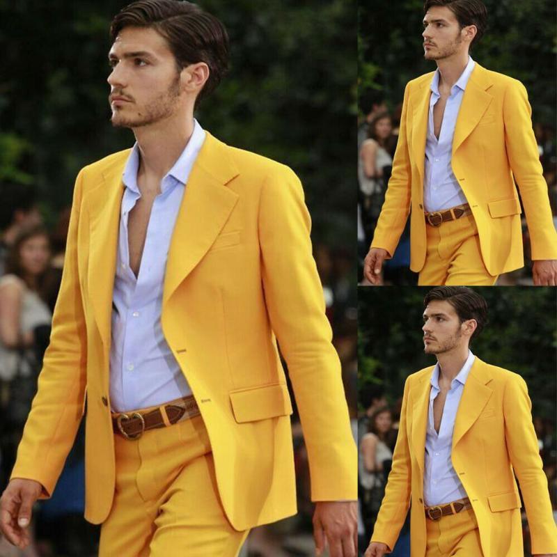 Bonito Groom Wear Men Suits Jacket Pants formais amarelas do casamento do noivo Slim Fit smoking masculino Blazer negócio Terno 2 PCS