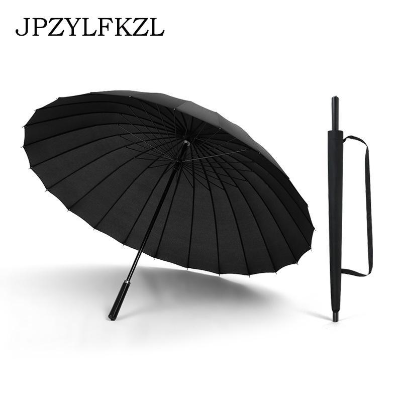 24K المرأة الكبيرة مظلة المطر المرأة صامد للريح المشي الذكور عصا المظلات رجال جلدية جولف الشمس Paraguas ملون شمسية قصب T200117