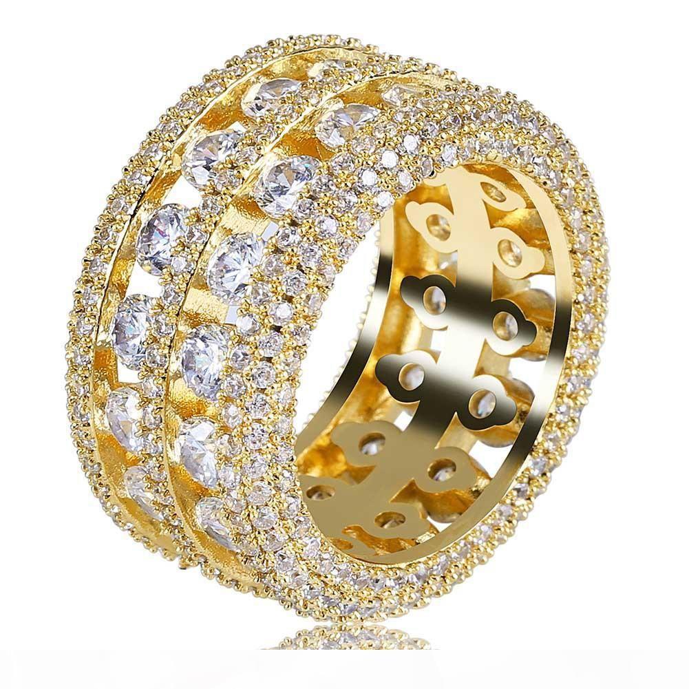 Hot homens venda do vintage anel de hip hop jóias Zircon congelado para fora anéis de cobre de prata de ouro de luxo banhados para o amante de jóias por atacado de moda 2018