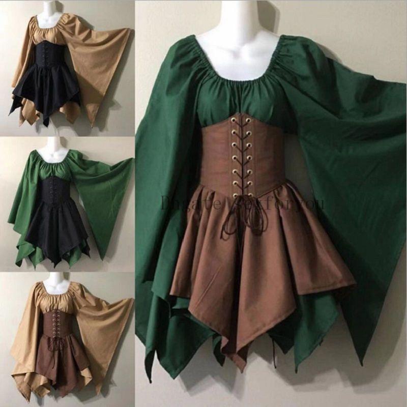 vestito del partito di Halloween delle donne costume medioevale Fata Folletto Cincher della vita del corsetto Set Top e orlo irregolare