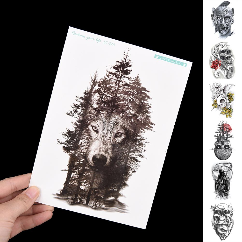Personality Fake Tattoos Waterproof Temporary tattoo Sticker Chest Clock Wolf Forest Tatto Stickers Flash Tatoo For Women Men T200730