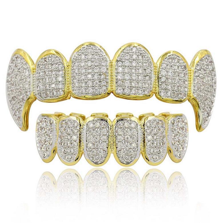 الهيب هوب GRILLZ فاخر الصارخة الزركون مايكرو تمهيد الأسنان الشوايات 2019 أزياء الرجال والنساء 18K مطلية بالذهب الأسنان تستجمع قواها 2 قطعة مجموعة بالجملة LP022