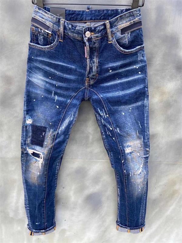 20SS Marke Fashion Designer Jeans Herren Denim Jeans Black Ripping Hosen Mode Skinny Broken Stil Fahrrad Motorrad Rock Revival Jean # Q562