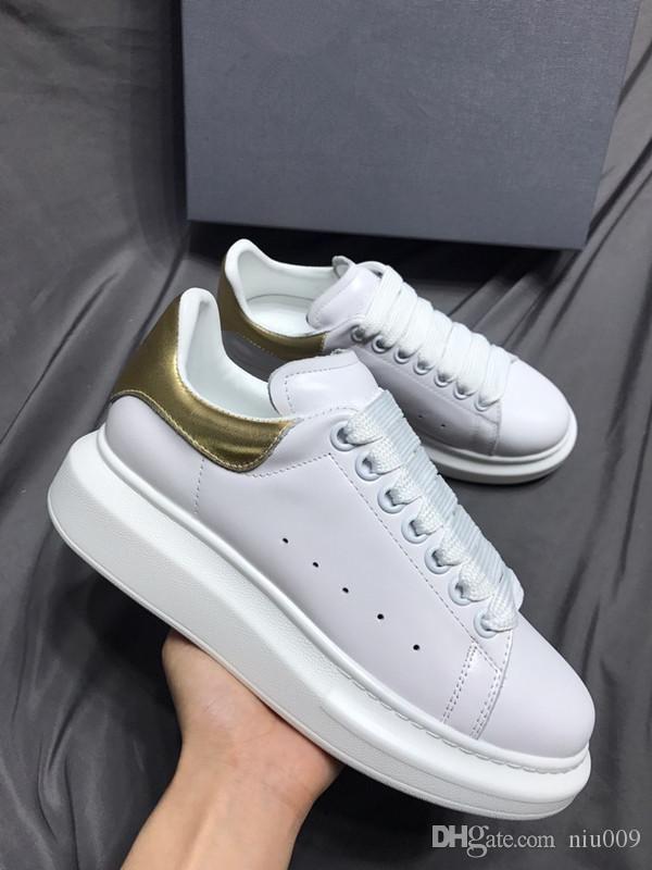Couro New Season Designer Shoes Moda Luxo Mulheres sapatos masculinos Lace Up Platform Oversized Sole Sneakers Branco Preto Casual gp190701 Shoe
