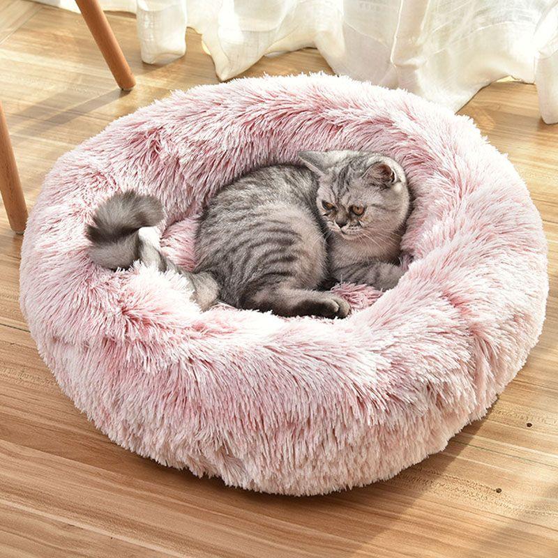 منذ فترة طويلة القطيفة منفوش كلب سرير Claming كلب الاسرة دونات جولة القط مقعد لينة دافئة تشيهواهوا بيت الكلب كبيرة اللوازم حصيرة الحيوانات الأليفة