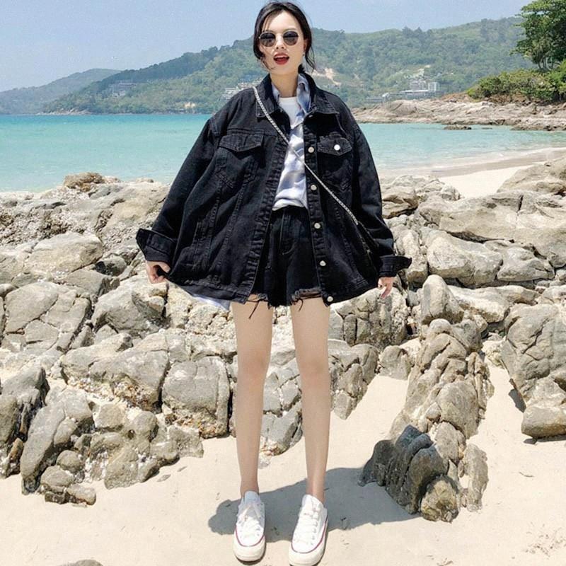 Primavera Autunno donne coreane oversize in denim Outwear manica lunga del bicchierino del denim del cappotto nero di gusto squisito Jean Jacket Jacket Dress Casua KPeR #