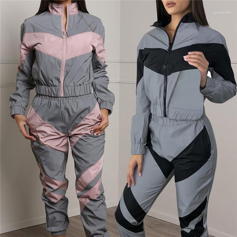 Yansıtıcı Bayanlar İki adet Kıyafetler Uzun kollu Yaz Kapşonlu Uzun Pantolon 2PCS Tracksuits Kadın Casual Femme Setleri