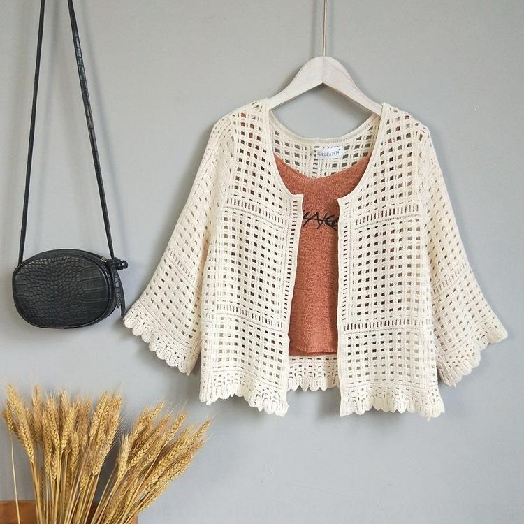 lJnwp одежда Дом 2020 шаль полым из шали лета женщин солнцезащитный крем солнцезащитный крем пальто короткий тонкий трикотажный одежды одежды
