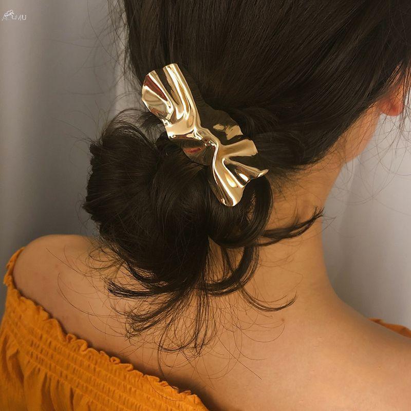 AOMU 1PCS Vintage Geometric Irregular Hair Clips Metal Gold Color Beach Starfish Shell Conch Hairpins For Women Hair Accessories
