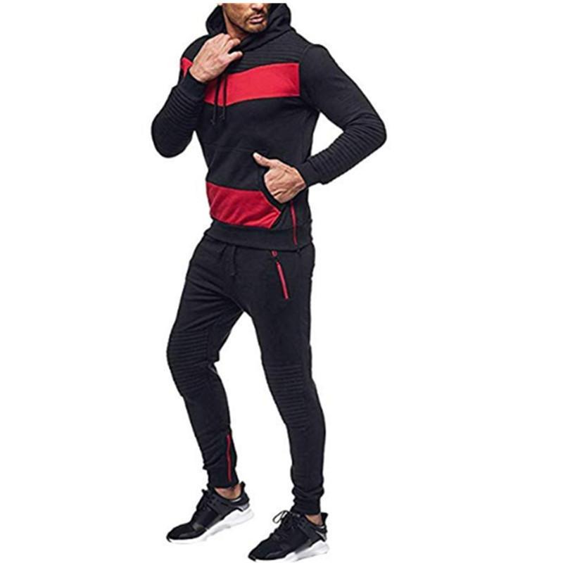 2 Pezzi Imposta cucitura Tuta Uomini Felpa con cappuccio + pantaloni Pullover con cappuccio Sportwear Suit Ropa Hombre Uomo Casual Abbigliamento