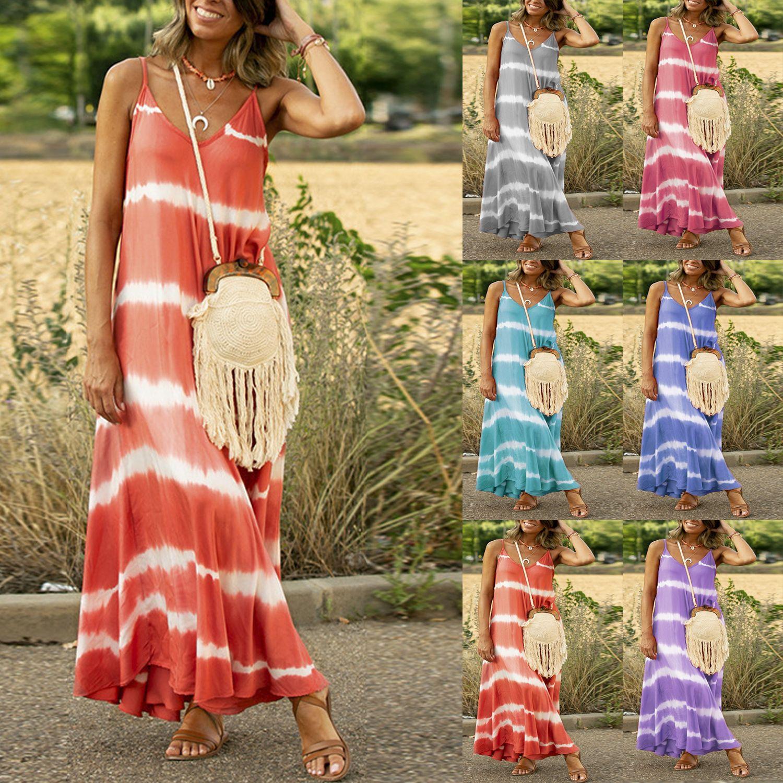 6 색 S-5XL 플러스 사이즈 여성 여름 V 넥 맥시 드레스 숙녀 해변 캐주얼 느슨한 보오 드레스 61259645986627