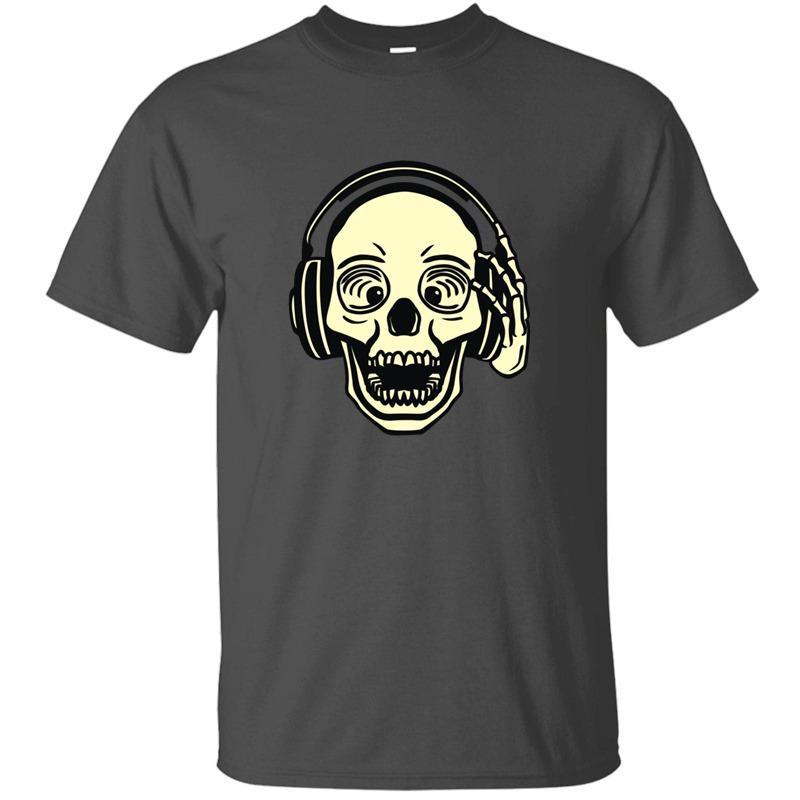 DJ-Schädel-T-Shirt für Herren Famous Grau Homme Comic Männer und Frauen-T-Shirts 2020 Big Size 3xl 4xl 5xl Camisas Shirt Baumwolle