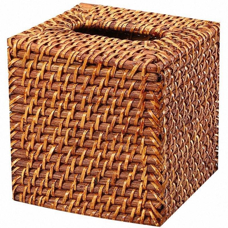 Fashion Designer rotin main Boîtes tissé Serviettes de table carrée Plateaux Bottomless de bureau Mode Tissue Brown 15x15cm eUWV Boxe #