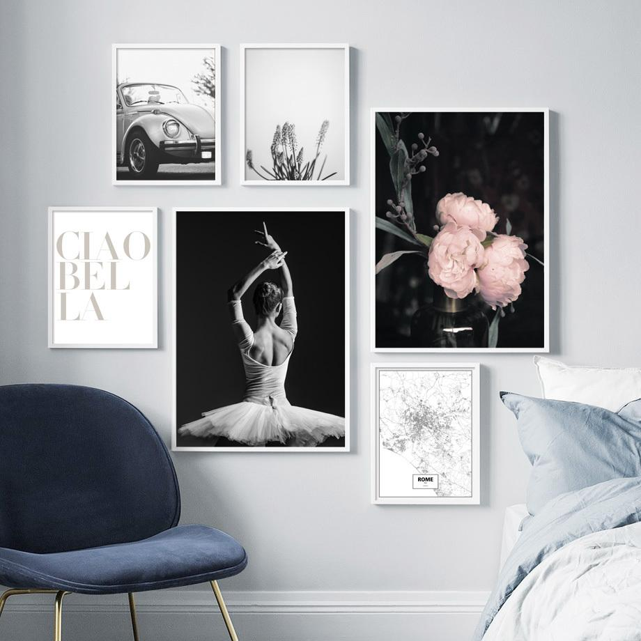 Black White Ballet Girl Vintage Car Peony Wall Art Canvas Painting Nordic Posters And Prints Wall Pictures For Living Room Decor