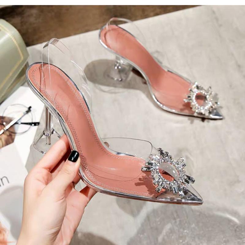 Femmes Pompes transparentes Hauts talons Mules Sexy Pointu Toe Wedding Party Marque Chaussures mode pour dame PVC 2020 Nouveau