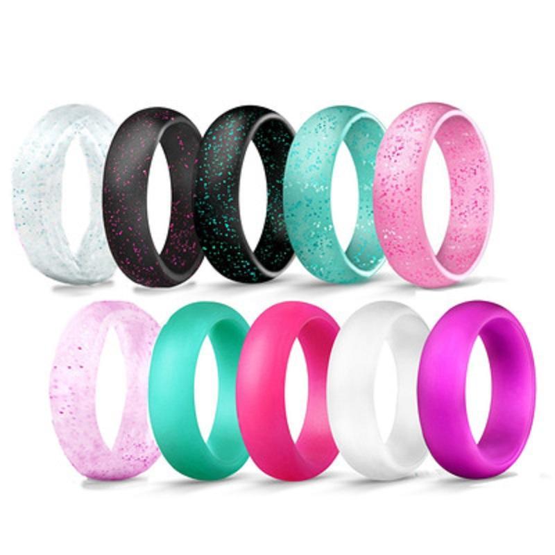 5.7mm polvere di cristallo silicone Anelli femminili per le donne ragazze sposa l'anello di barretta Flash Rosa 9 colori Jewelry Size 4 5 6 7 8 9 10