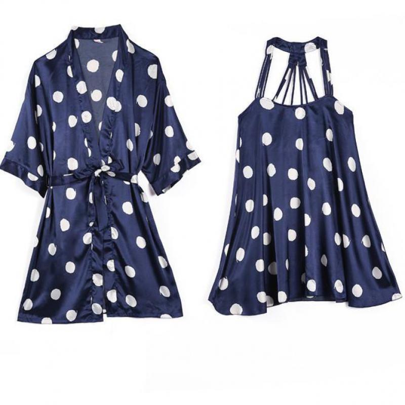 Women Satin Robe Set Summer Polka Dot 2PCS Sleepwear Silky Nighty&Robe Set Female Kimono Gown Casual Sleep Home Clothing
