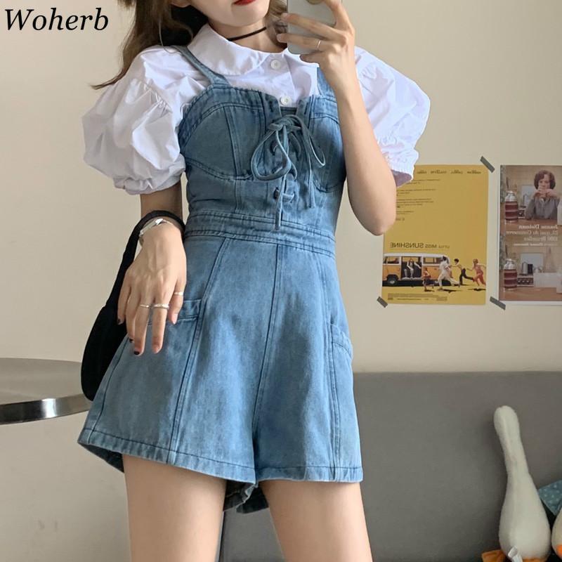 Woherb Jeans Kadın Moda Koreli Giyim tulumları Yaz Yeni Geliş Lace Up Geniş Bacak Kısa Pantolon Preppy Stil Streetwear93271
