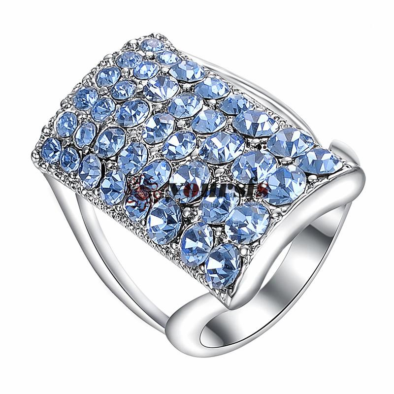 Yourfs Four Row Rhinestone Crystal Sapphire Ring 18 K Wit Vergulde Square Bruids Trouwring