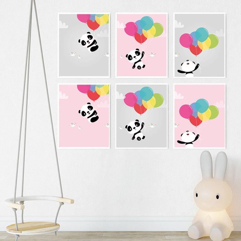 Baby-Mädchen-Kinderzimmer-Wand-Kunst-Fliegen-Ballon-Panda-Bär Leinwand-Malerei Nordic-Kind-Raum Dekorative Druck Poster Wohnkultur