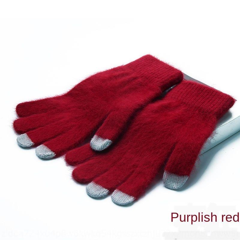 sfHgL Touch screen season solid color mink velvet plush full finger fingers five Warm Gloves and gloves fingers for men and women general th