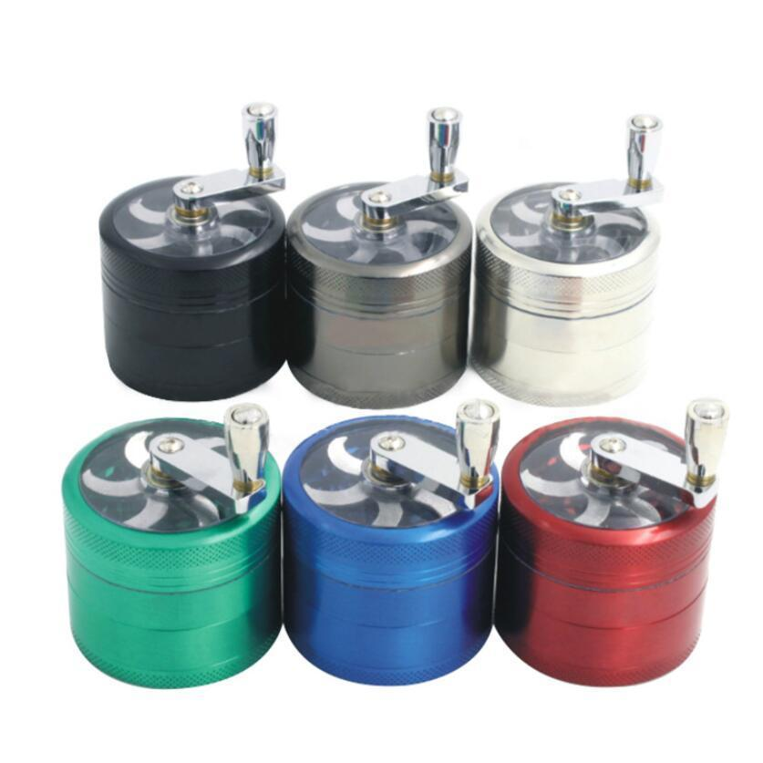 Tobacco Grinder 40mm 4 Layers Zicn Alloy Hand Crank Tobacco Grinders Metal Hand Muller Pepper Grinders Smoking Accessories