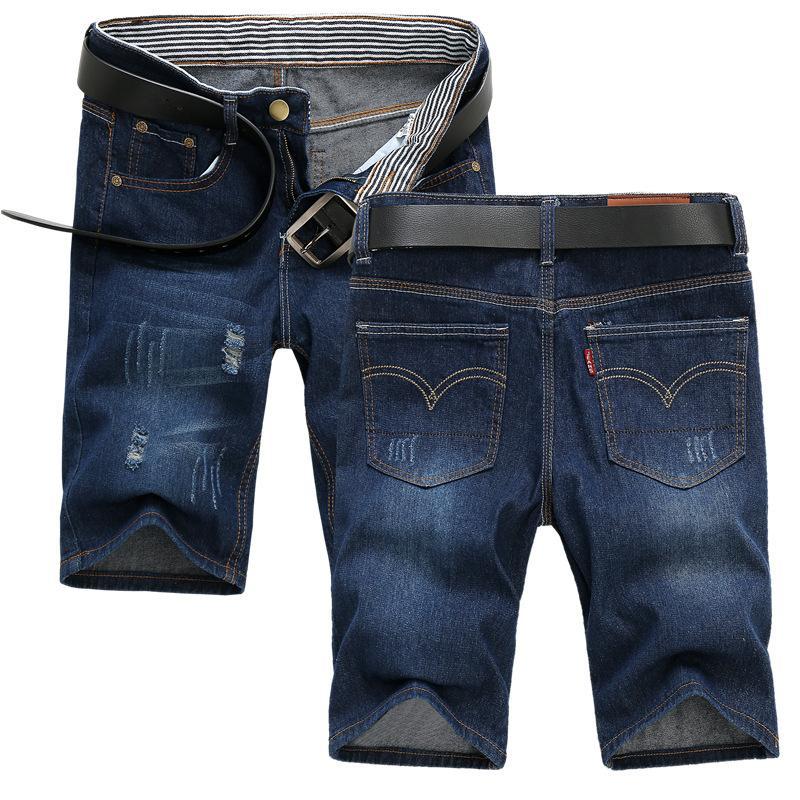 Nuovo stile sottile di estate Sezione denim shorts Maschio Pantaloni Quinto in stile coreano con fori di misura sottile versatili pantaloncini di jeans di moda