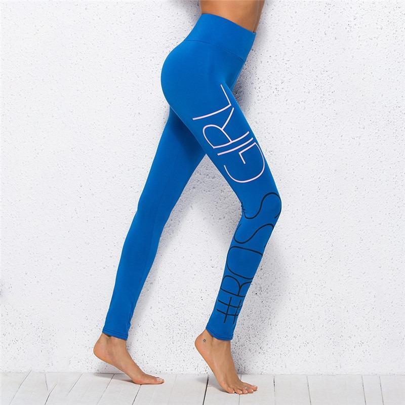 Lady Montage Leggings Einfacher Brief drucken Fitness Fitness Sport Tights Fest Farbe Wilde High Waist Bequeme Damen Leggings