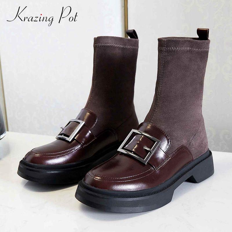 Krazing Pot calza stivali di pelle di mucca fibbia decorazioni britannico med piazza tacco rotondo slittamento punta sul giovane signora stivali abito caviglia L15