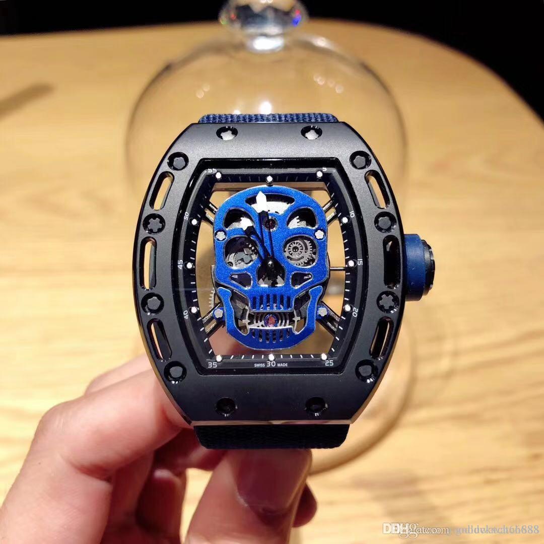 HOT Designer Uhrmann- Luxus-Sport Farbe Skelett Sport 43mm Edelstahl automatische mechanische wasserdichte Uhr