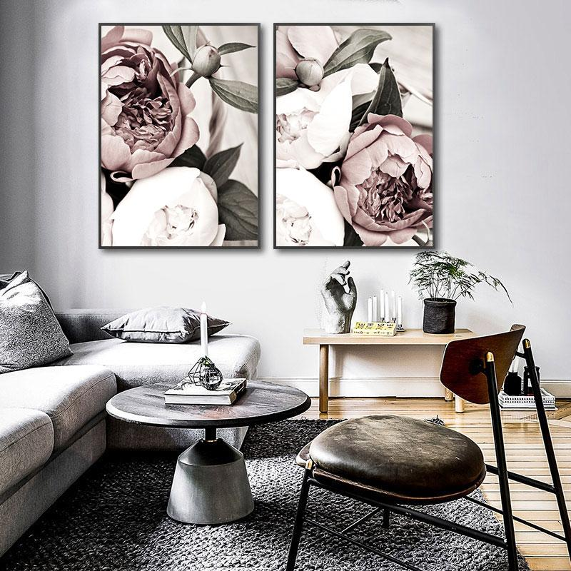 Scandinavian Pink White Flower Leaf Plant Poster Nordic Botanical Print Canvas Painting Wall Art Decoration Picture Home Decor