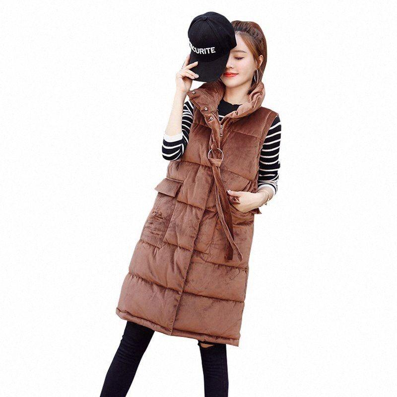 Rlyaeiz зима женщины жилет пальто 2018 Мода осень Золотого Бархат вниз Хлопок средней длиной рукавов куртка Толстого Теплых женщины Жилет хъле #