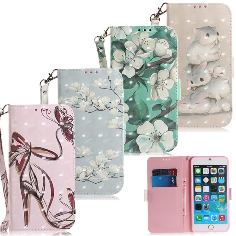 3D Flower Leather Wallet Cases For 11 Pro XS Max XR X Case iPhone 8 7 6 6S Plus 5S iPhone11 Flip Cover Cartoon Phone Bag