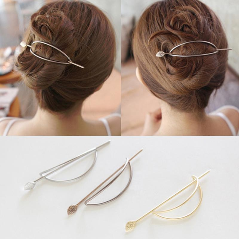 Gold-color Silver Plated Metal Pin Clasp Jewelry Leaf Hair Sticks Hairpins and Clips for Women