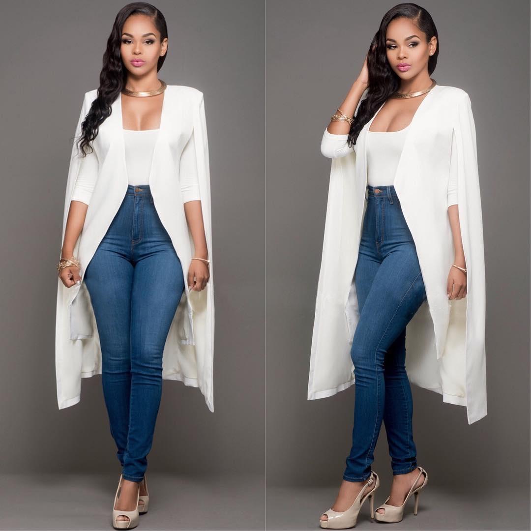 58DZK Autunno 8198 # 2020 Autunno lungo personalizzato abito bianco e nero di due colori moda femminile 8198 # 2020 cappotto 49nRA personalizzato lungo nero