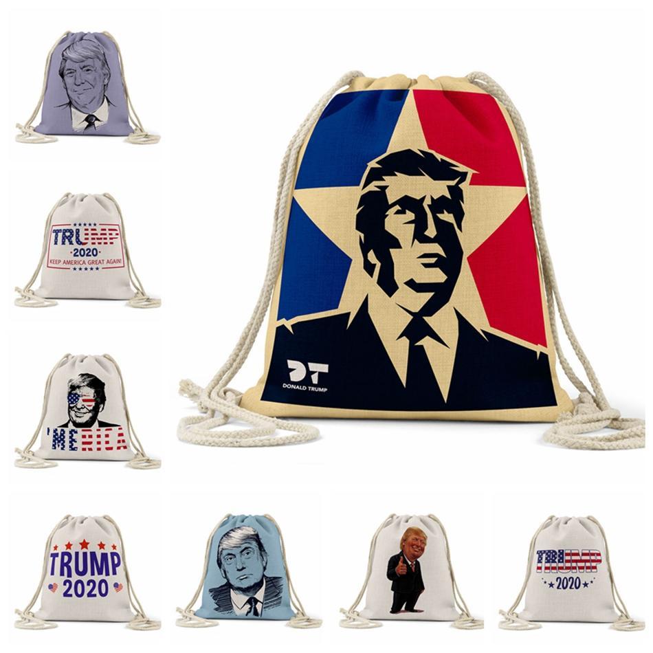 Trump Llama la cuerda patrón de la bolsa de Estados Unidos 2020 Elección Presidencial Trump Impreso almacenaje de las compras al aire libre mochila con cordón de bolsillo LJJP209