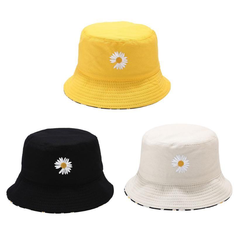 Unisex flor de la margarita cubo de playa Sombrero de sol Dos caras casquillo casquillos Pescador Headwear Panamá refinado especial del sombrero del cubo