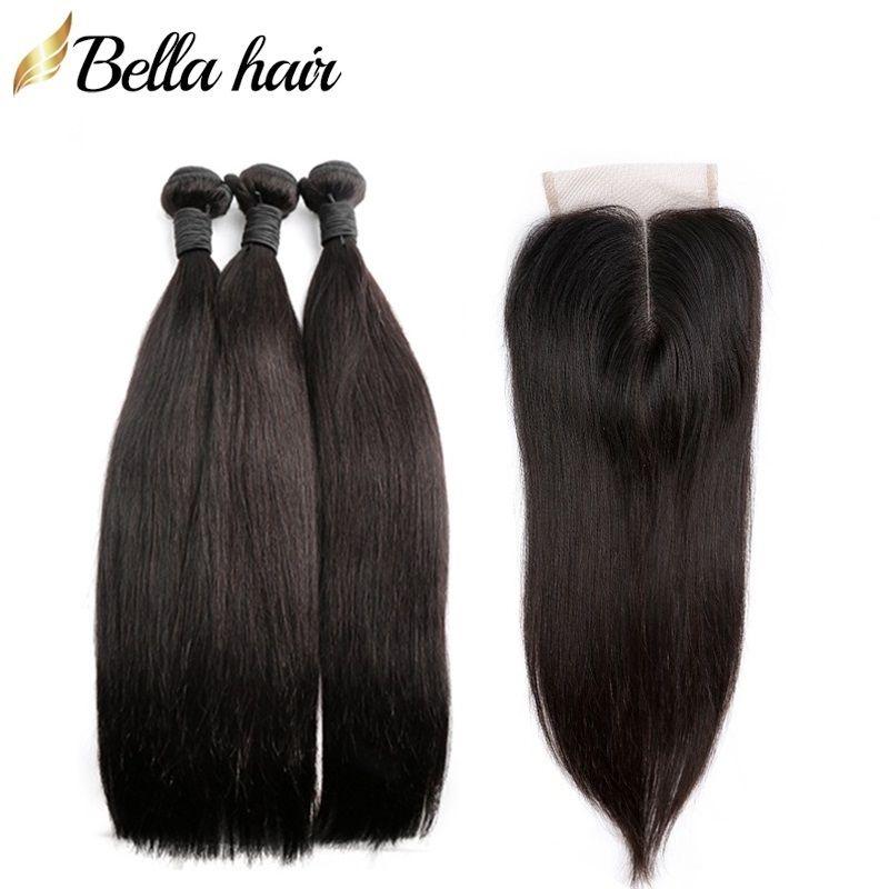 Pêlo de cabelo liso peruano Extensões 3 pacotes com fechamento 4x4 parte do meio de topo fechos de renda de laço de cabelo natural cor bellahair