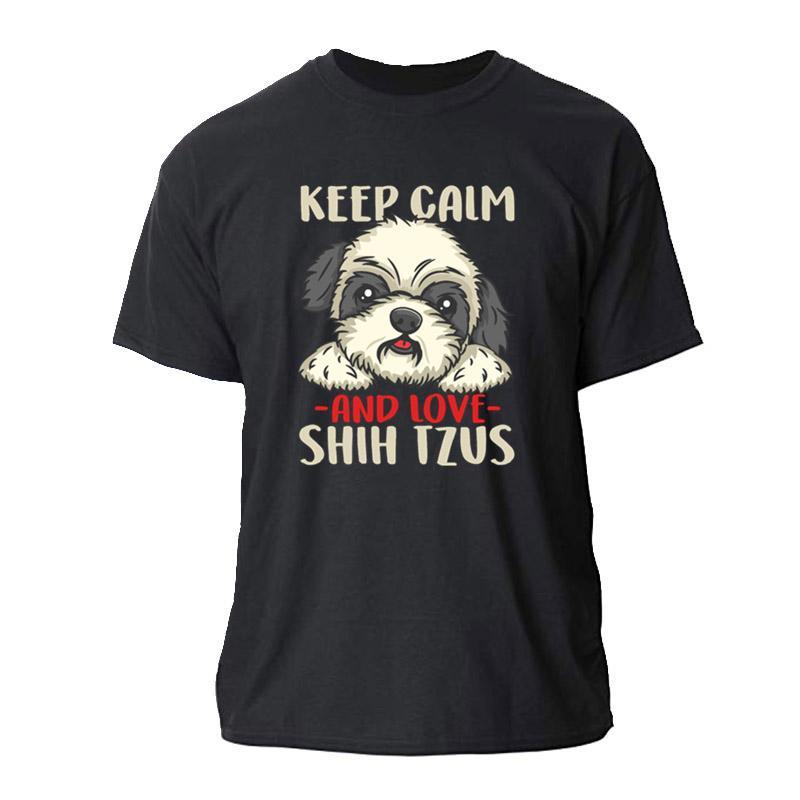 Print Owned By A Chinese Shih Tzu Print For Dog Lovers Mens T-Shirt Mens Fitness T Shirt Men Women S-3xl O Neck Men's Tshirt